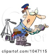 Royalty Free RF Clip Art Illustration Of A Cartoon Cop Taking Photos by toonaday