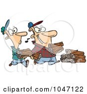 Royalty Free RF Clip Art Illustration Of A Cartoon Father And Son Carrying Wood