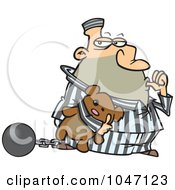 Royalty Free RF Clip Art Illustration Of A Cartoon Con Sucking His Thumb And Holding A Teddy Bear by toonaday