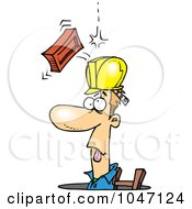 Royalty Free RF Clip Art Illustration Of A Cartoon Brick Falling On A Construction Guy In A Man Hole by toonaday