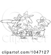 Royalty Free RF Clip Art Illustration Of A Cartoon Black And White Outline Design Of A Western Cowboy Family