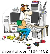 Royalty Free RF Clip Art Illustration Of A Cartoon Computer Geek With A Messy Office by toonaday