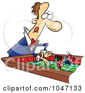 Royalty Free RF Clip Art Illustration Of A Cartoon Man At A Craps Table by toonaday