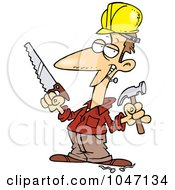 Cartoon Construction Guy Holding A Hammer And Saw