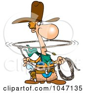 Royalty Free RF Clip Art Illustration Of A Cartoon Lasso Cowboy