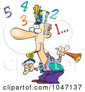 Royalty Free RF Clip Art Illustration Of A Cartoon New Year Man Counting Down