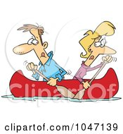 Cartoon Couple Rowing A Canoe In Opposite Directions