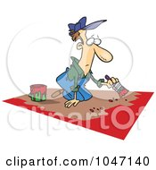 Royalty Free RF Clip Art Illustration Of A Cartoon Man Painting A Floor by toonaday