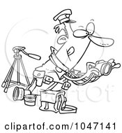 Royalty Free RF Clip Art Illustration Of A Cartoon Black And White Outline Design Of A Cop Taking Photos by toonaday