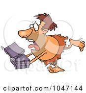 Royalty Free RF Clip Art Illustration Of A Cartoon Caveman Courier