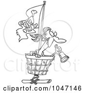 Cartoon Black And White Outline Design Of A Pirate In A Crows Nest