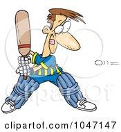 Cartoon Man Playing Cricket