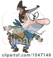 Royalty Free RF Clip Art Illustration Of A Cartoon Cowboy Smoking A Cigarette by toonaday