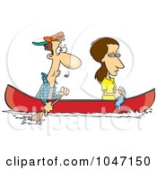 Royalty Free RF Clip Art Illustration Of A Cartoon Woman Scooping Water Out Of A Boat As Her Boyfriend Rows by toonaday