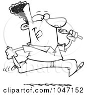 Royalty Free RF Clip Art Illustration Of A Cartoon Black And White Outline Design Of A Hungry Black Man Running With Cutlery
