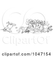 Royalty Free RF Clip Art Illustration Of A Cartoon Black And White Outline Design Of A Man Following A Crowd by toonaday