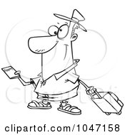 Cartoon Black And White Outline Design Of A Traveler Holding A Passport