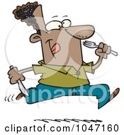 Royalty Free RF Clip Art Illustration Of A Cartoon Hungry Black Man Running With Cutlery