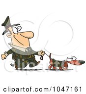 Royalty Free RF Clip Art Illustration Of A Cartoon Man Dressed In Paisley Walking His Wiener Dog