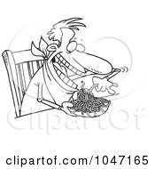 Royalty Free RF Clip Art Illustration Of A Cartoon Black And White Outline Design Of A Man Eating Spaghetti At A Table by toonaday