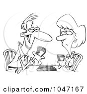Royalty Free RF Clip Art Illustration Of A Cartoon Black And White Outline Design Of A Couple Playing Cribbage by toonaday