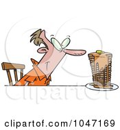 Royalty Free RF Clip Art Illustration Of A Cartoon Man With Buttery Pancakes by toonaday