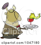 Royalty Free RF Clip Art Illustration Of A Cartoon Zombie Waiter by toonaday