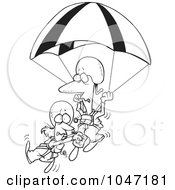 Royalty Free RF Clip Art Illustration Of A Cartoon Black And White Outline Design Of A Couple Parachuting