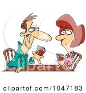 Royalty Free RF Clip Art Illustration Of A Cartoon Couple Playing Cribbage by toonaday