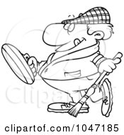 Royalty Free RF Clip Art Illustration Of A Cartoon Black And White Outline Design Of A Man Curling
