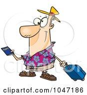 Cartoon Traveler Holding A Passport