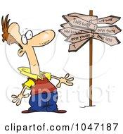 Cartoon Man At A Crossroads With A Crazy Sign