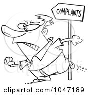 Royalty Free RF Clip Art Illustration Of A Cartoon Black And White Outline Design Of A Customer Going To Complain