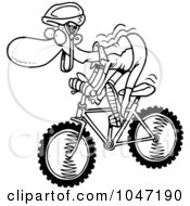 Royalty Free RF Clip Art Illustration Of A Cartoon Black And White Outline Design Of A Mountain Biker by toonaday