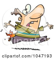 Royalty Free RF Clip Art Illustration Of A Cartoon Man Running With His Pants On Fire by Ron Leishman