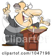Royalty Free RF Clip Art Illustration Of A Cartoon Preaching Pastor
