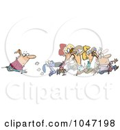 Royalty Free RF Clip Art Illustration Of A Cartoon Man Following A Crowd by toonaday