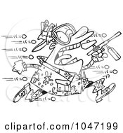 Cartoon Black And White Outline Design Of A Man Being Hit With Paintballs