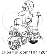 Royalty Free RF Clip Art Illustration Of A Cartoon Black And White Outline Design Of A Motorcycle Cop