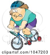 Royalty Free RF Clip Art Illustration Of A Cartoon Chubby Man Riding A Bike With Training Wheels by toonaday