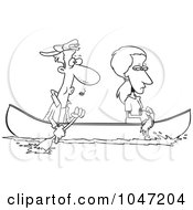 Royalty Free RF Clip Art Illustration Of A Cartoon Black And White Outline Design Of A Woman Scooping Water Out Of A Boat As Her Boyfriend Rows by toonaday