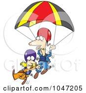 Royalty Free RF Clip Art Illustration Of A Cartoon Couple Parachuting