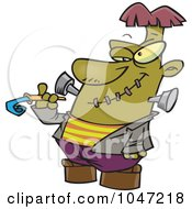 Royalty Free RF Clip Art Illustration Of A Cartoon Frankenstein With A Noise Marker by toonaday