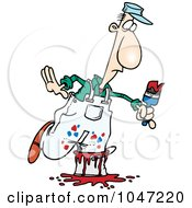 Royalty Free RF Clip Art Illustration Of A Cartoon Painter Stepping In A Bucket by toonaday