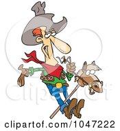Royalty Free RF Clip Art Illustration Of A Cartoon Cowboy On A Stick Pony