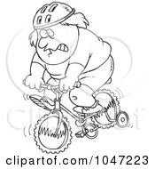 Royalty Free RF Clip Art Illustration Of A Cartoon Black And White Outline Design Of A Chubby Man Riding A Bike With Training Wheels by toonaday