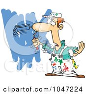 Royalty Free RF Clip Art Illustration Of A Cartoon House Painter Painting A Wall by toonaday