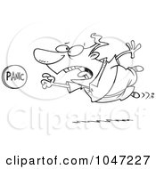 Royalty Free RF Clip Art Illustration Of A Cartoon Black And White Outline Design Of A Man Rushing To Push A Panic Button