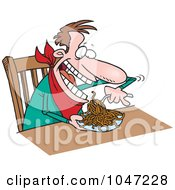 Cartoon Man Eating Spaghetti At A Table