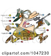 Royalty Free RF Clip Art Illustration Of A Cartoon Man Being Hit With Paintballs by toonaday